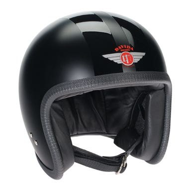 Davida Speedster V3 Helmet - Matt Black / Gloss Stripe