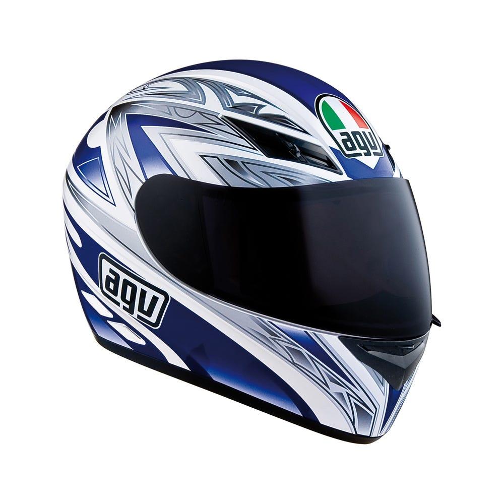 Agv K3 Basic One Helmet White Blue Motorcycle Helmets Bike Stop Uk