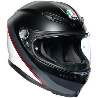 AGV K6 HELMET - MINIMAL: Pure Matt Black/White/Red: XS