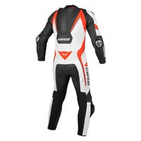 Dainese Aero Evo One Piece Leather Suit - Black / White / Fluoro Red