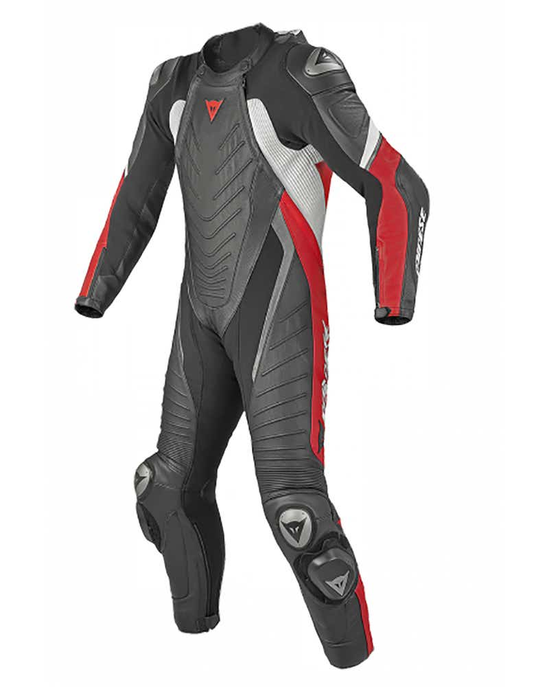 Dainese Aero Evo One Piece Leather Suit - Red / Black / Black