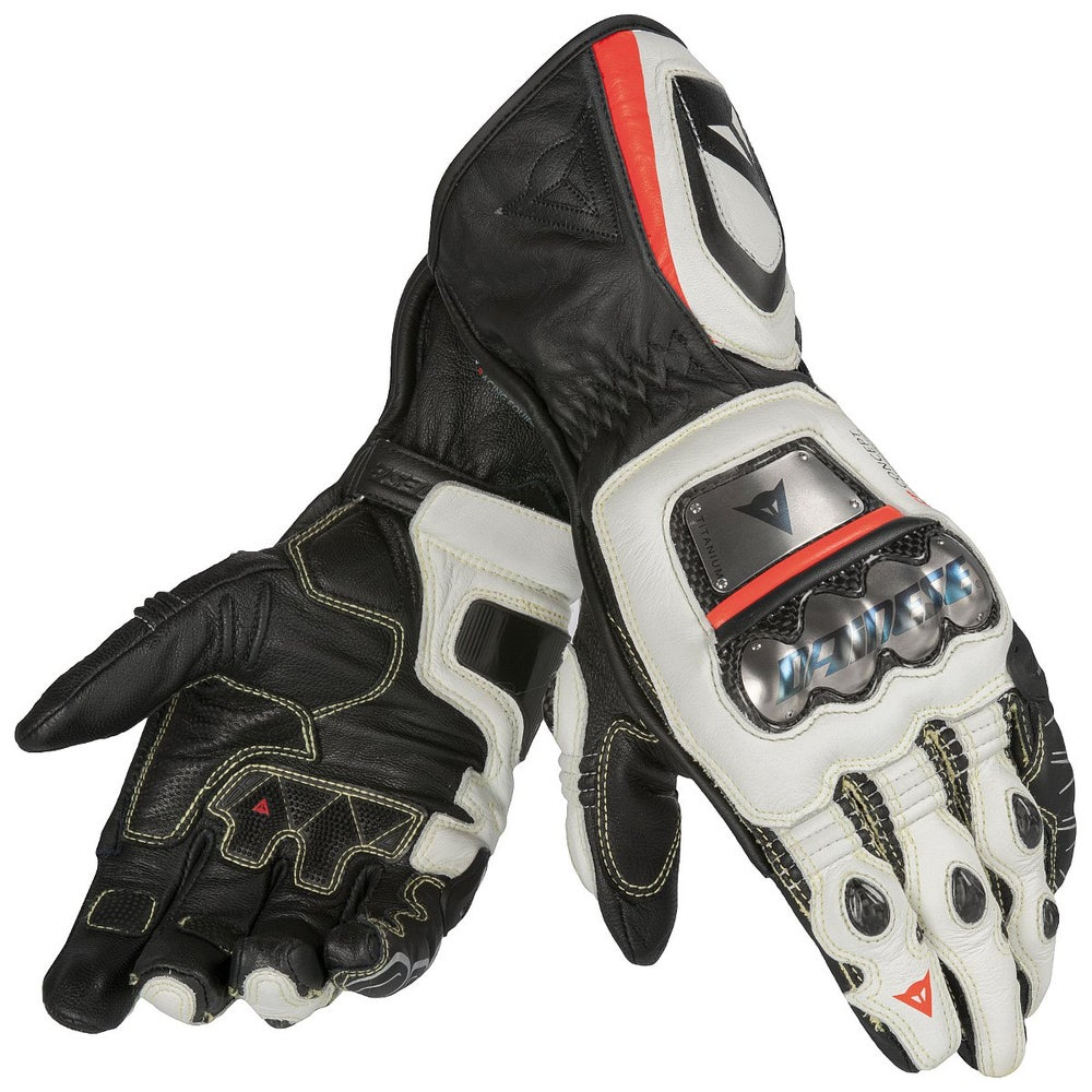 Dainese Full Metal D1 Gloves - Black / White / Fluoro Red