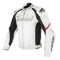 Dainese Ladies' Racing Leather Jacket - White / Red