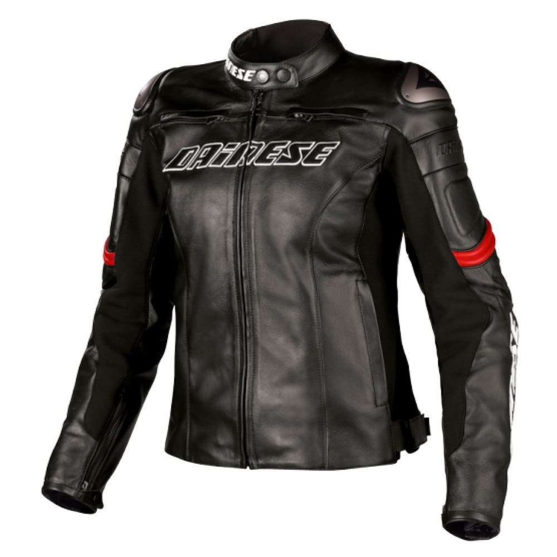 Dainese Ladies' Racing Leather Jacket - Black / Red