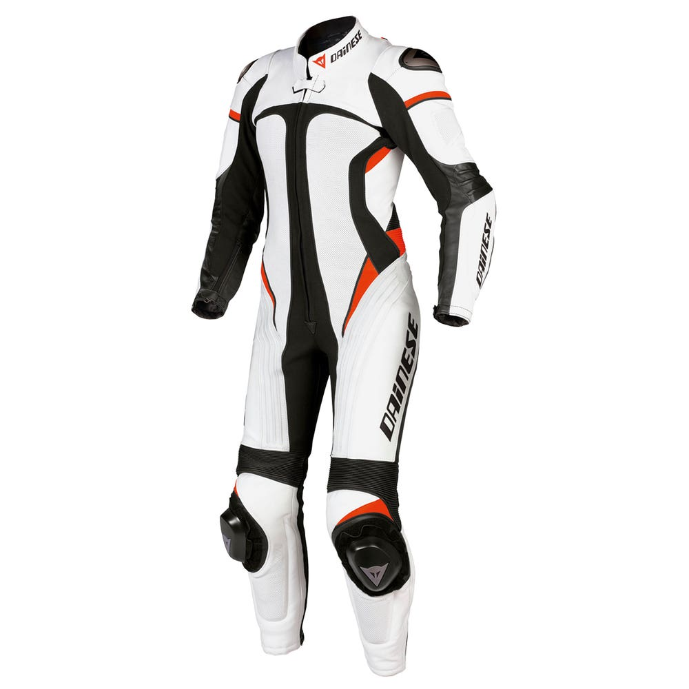 Dainese Ladies' Victoria One Piece Leather Suit - White / Black / Fluoro Red