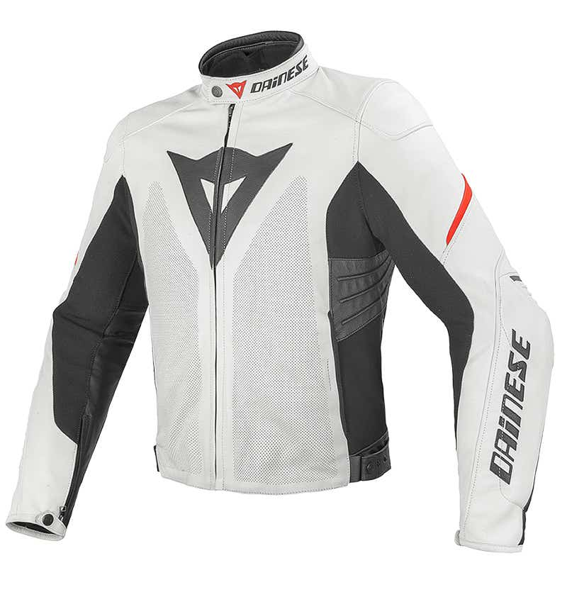 Dainese Laguna Evo Estivo Leather Jacket - White / Red