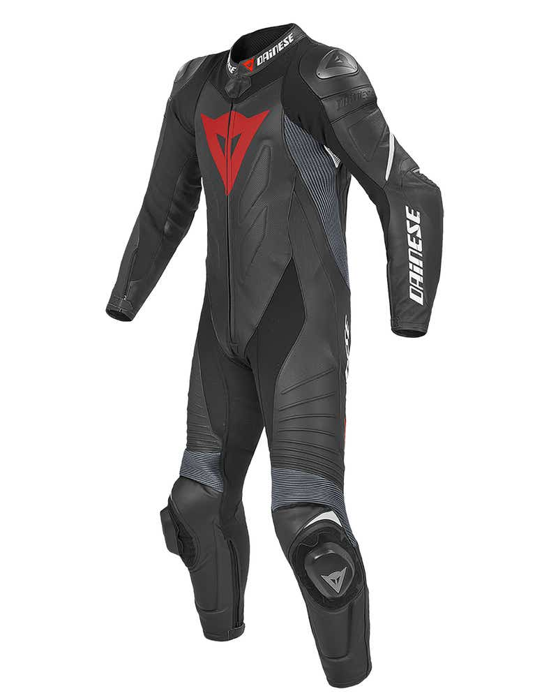 Dainese Laguna Seca Evo One Piece Leather Suit - Black / Fluoro Red