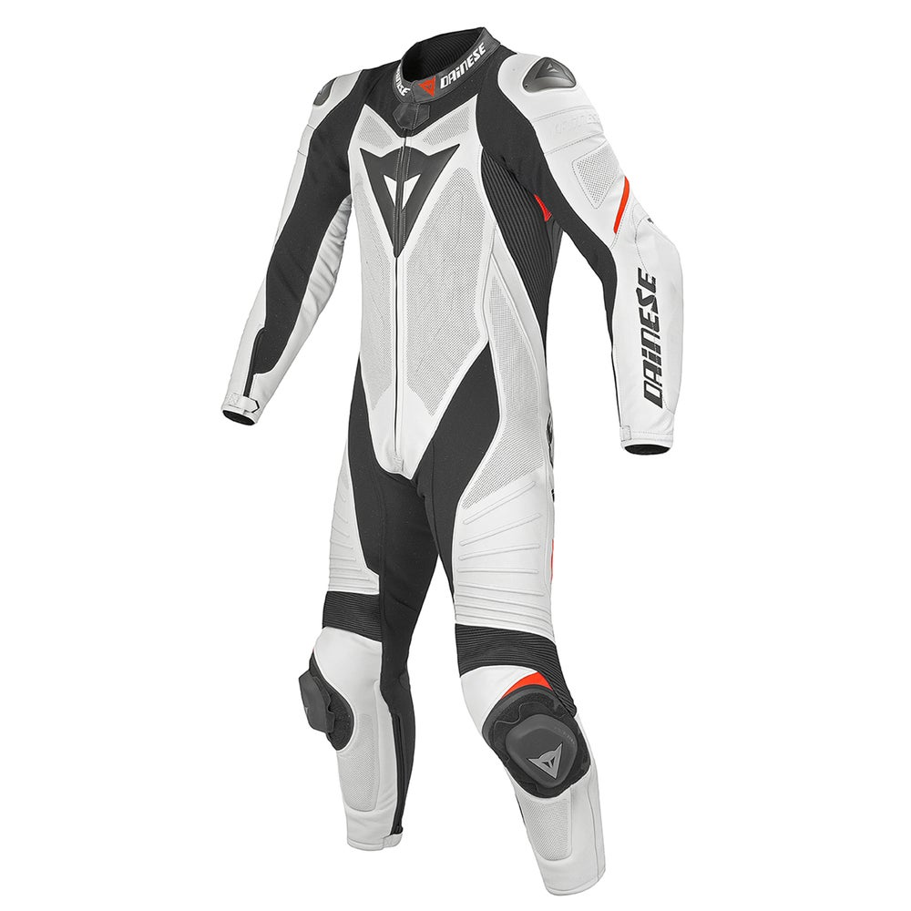 Dainese Laguna Seca Evo One Piece Leather Suit - White / Black / Fluoro Red