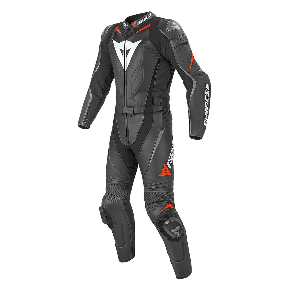 Dainese Laguna Seca Evo Two Piece Leather Suit - Black / Fluoro Red