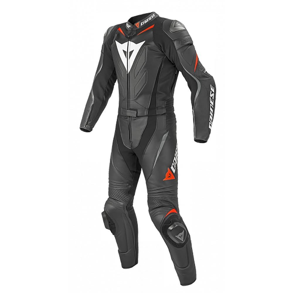 Dainese Laguna Seca Evo Two Piece Leather Suit - Long - Black / Fluoro Red