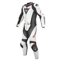 Dainese Laguna Seca Evo Two Piece Leather Suit - White / Black / Fluoro Red