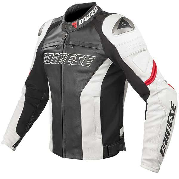 Dainese Racing Leather Jacket - Black / White / Red