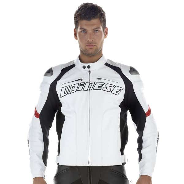 Dainese Racing Leather Jacket - White / Red