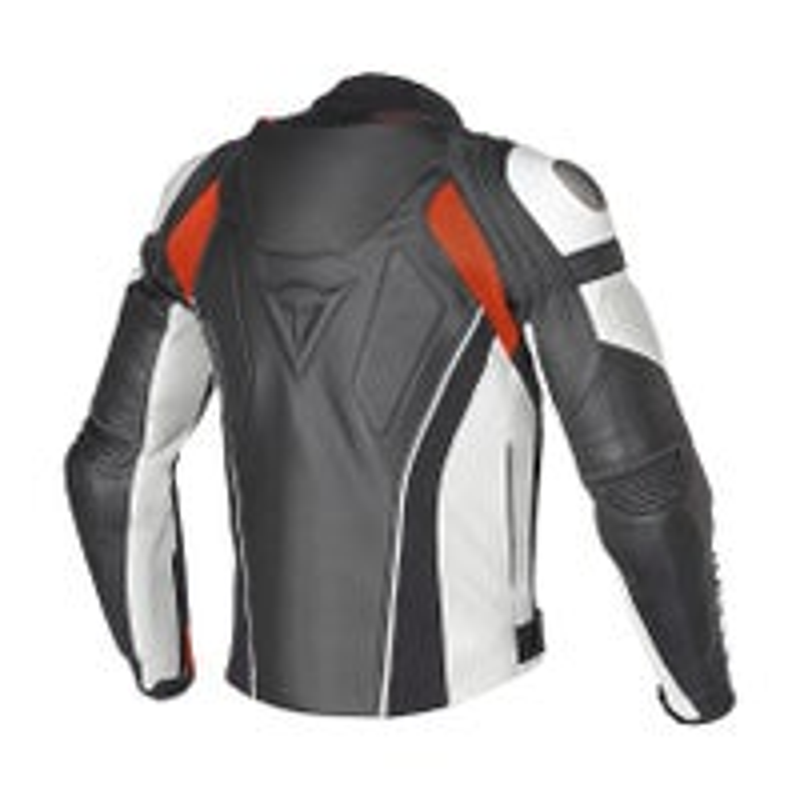 Dainese Super Speed C2 Leather Jacket - Black / White / Fluoro Red