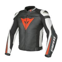 Dainese Super Speed C2 Leather Jacket - Black / White / Fluoro Red