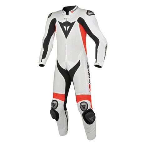 Dainese Team Estiva One Piece Leather Suit - White / Fluoro Red