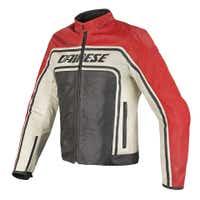 Dainese Tourage Vintage Leather Jacket - Black / Red / Ice