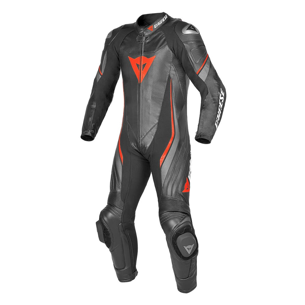 Dainese Trickster Evo Estiva One Piece Leather Suit - Black / Anthracite / Fluoro Red