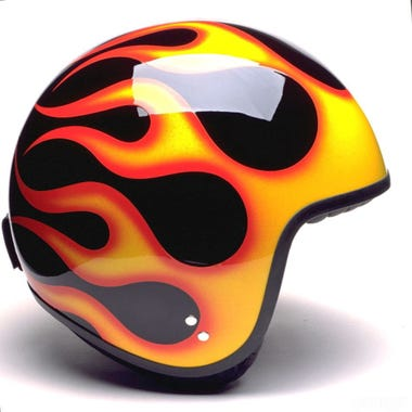 Davida Jet Complex Helmet - Black / Orange Flames