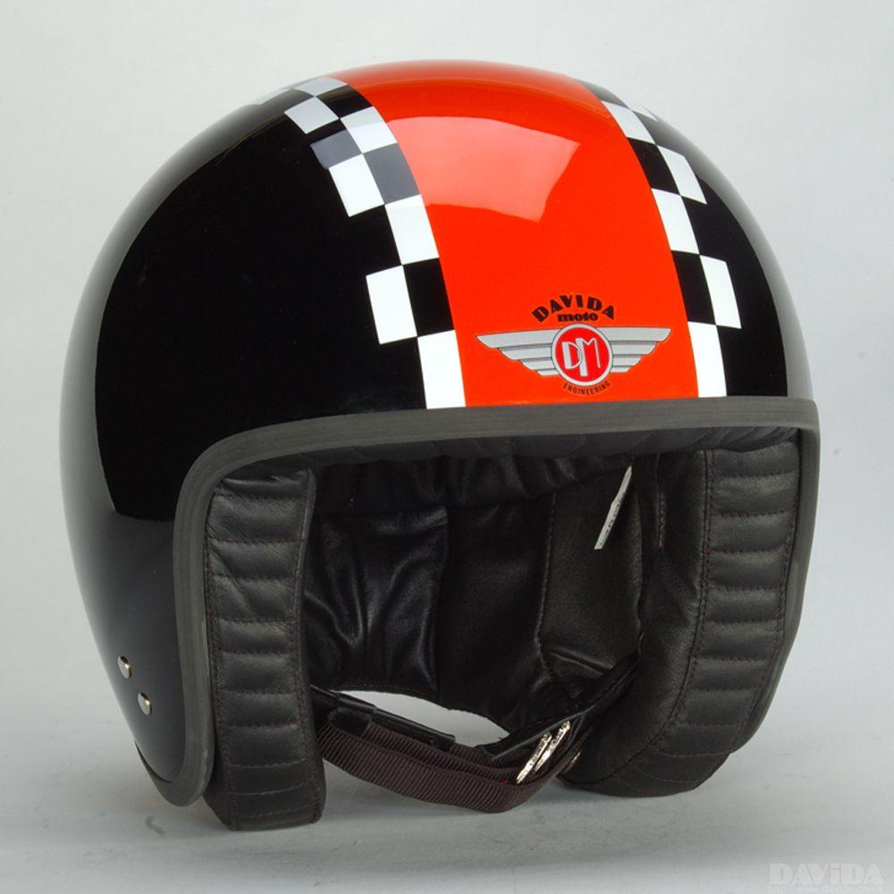 Davida Jet Complex Helmet - Black / Orange / White Check
