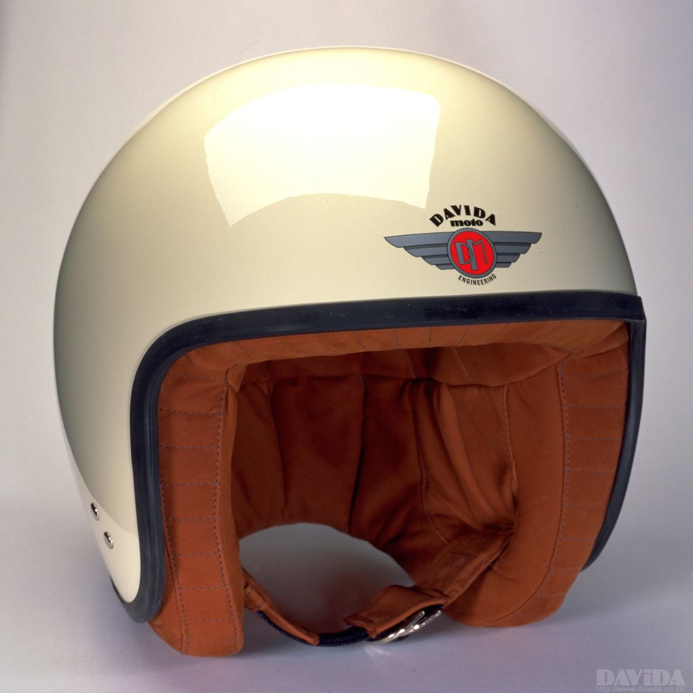 Davida Jet Complex Helmet - Cream / Brown Leather