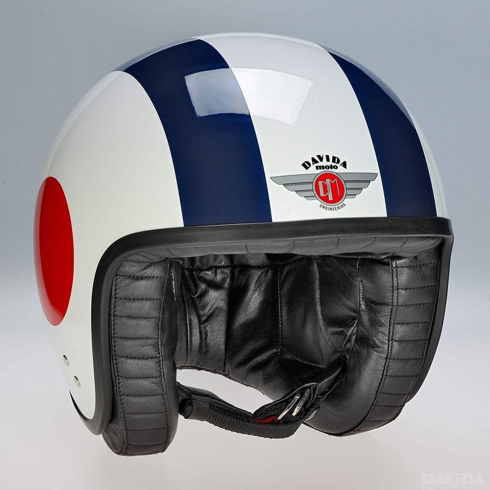 Davida Jet Complex Helmet - White RWB Target Sides