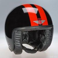 Davida Jet Two Tone Helmet - Black 2P Orange Stripe