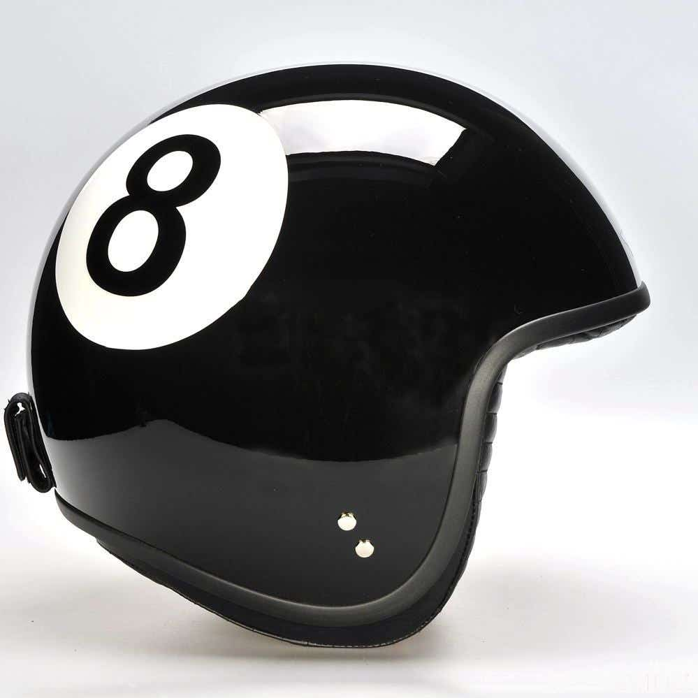 Davida Jet Two Tone Helmet - Black Eight Ball