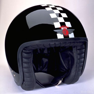 Davida Jet Two Tone Helmet - Black / White Cheque