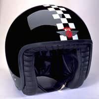 Davida Jet Two Tone Helmet - Black / White Cheque