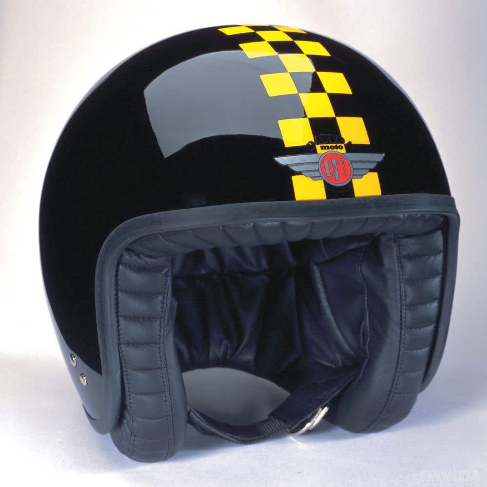 Davida Jet Two Tone Helmet - Black / Yellow Cheque