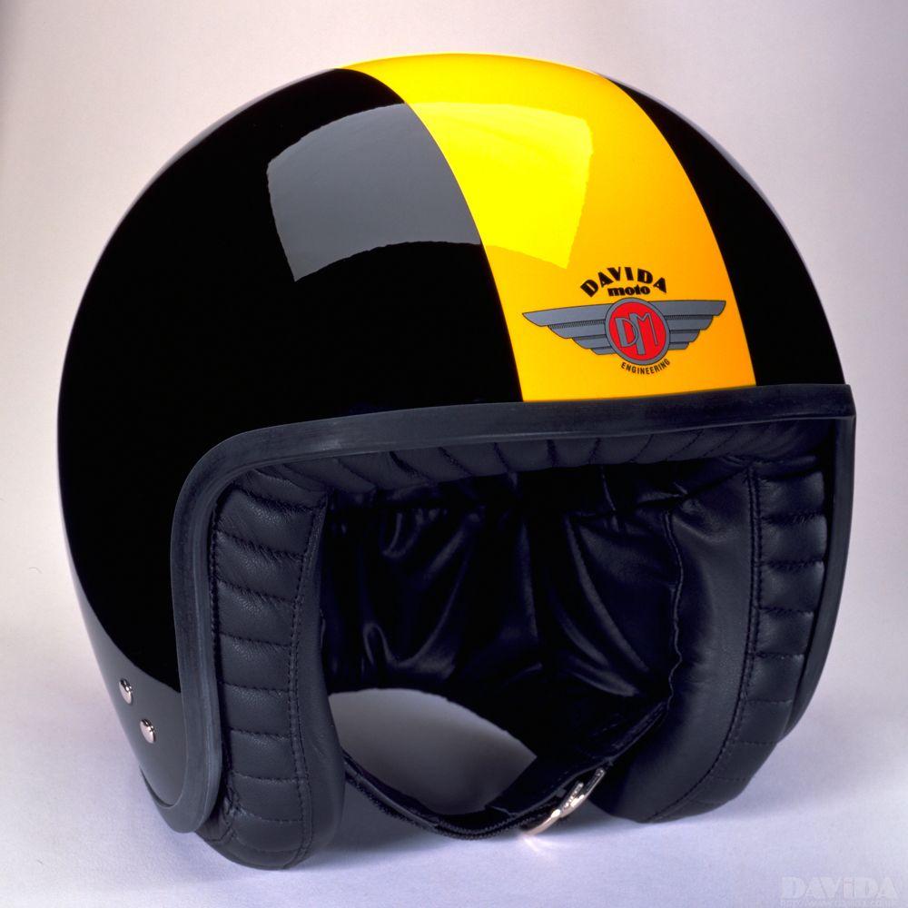 Davida Jet Two Tone Helmet - Black / Yellow