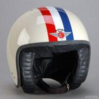 Davida Jet Two Tone Helmet - Cream / Red / White / Blue Stripe