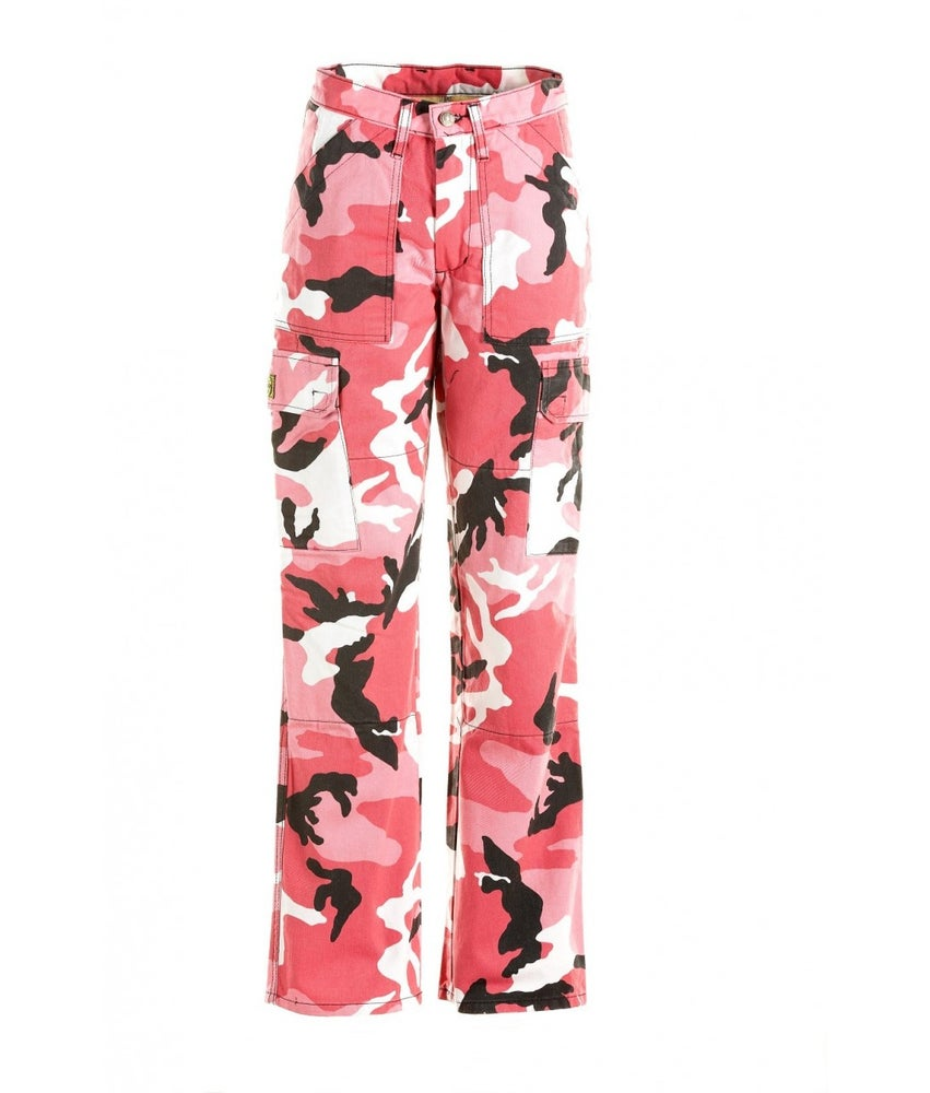 Draggin Ladies' Candy Camo Cargo Kevlar Jeans - Candy Pink